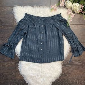 Lucky Brand Striped Off The Shoulder Top
